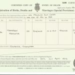 Frederick Thompson death certificate (modern copy of)